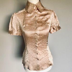 bebe NWT 100% Silk Rose Gold Button Up Peplum Top